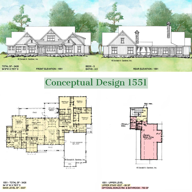Overview of conceptual house plan 1551.