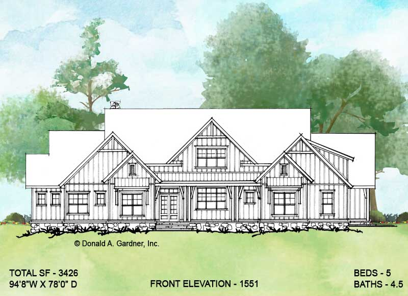Front elevation of conceptual house plan 1551.