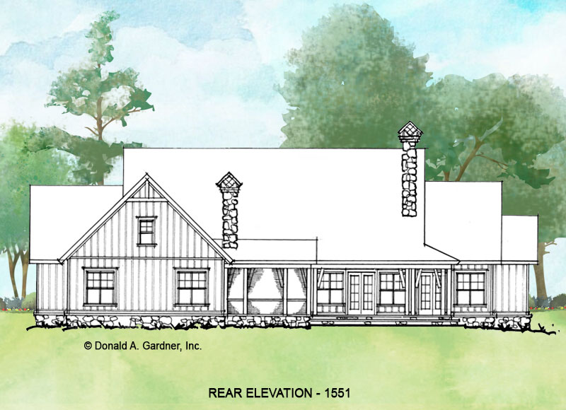 Rear elevation of conceptual house plan 1551.