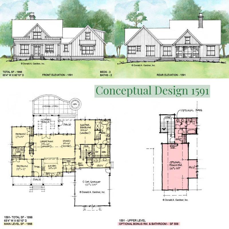 Overview of conceptual house plan 1591.