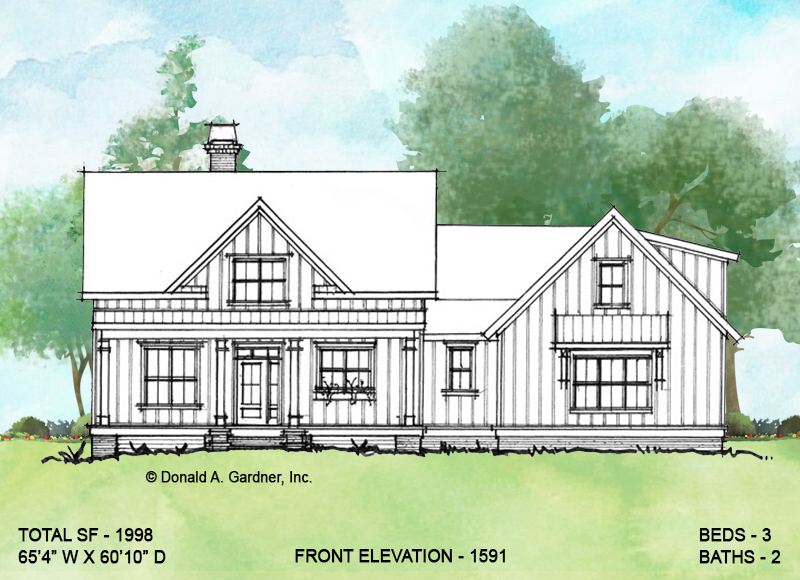 Front elevation of conceptual house plan 1591.
