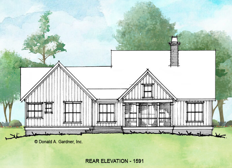 Rear elevation of conceptual house plan 1591.