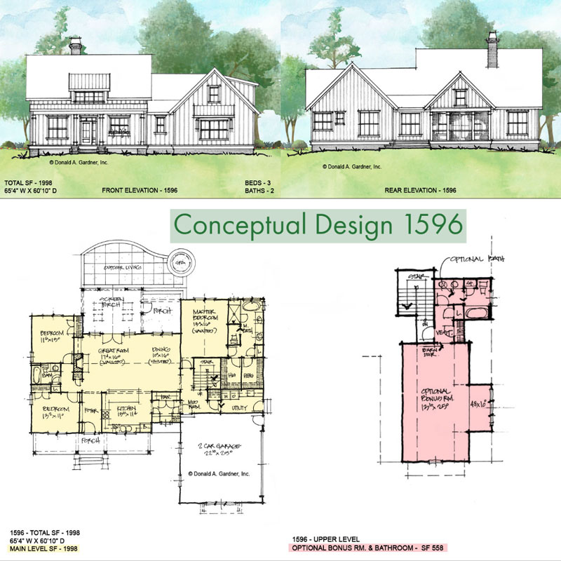Overview of conceptual house plan 1596.