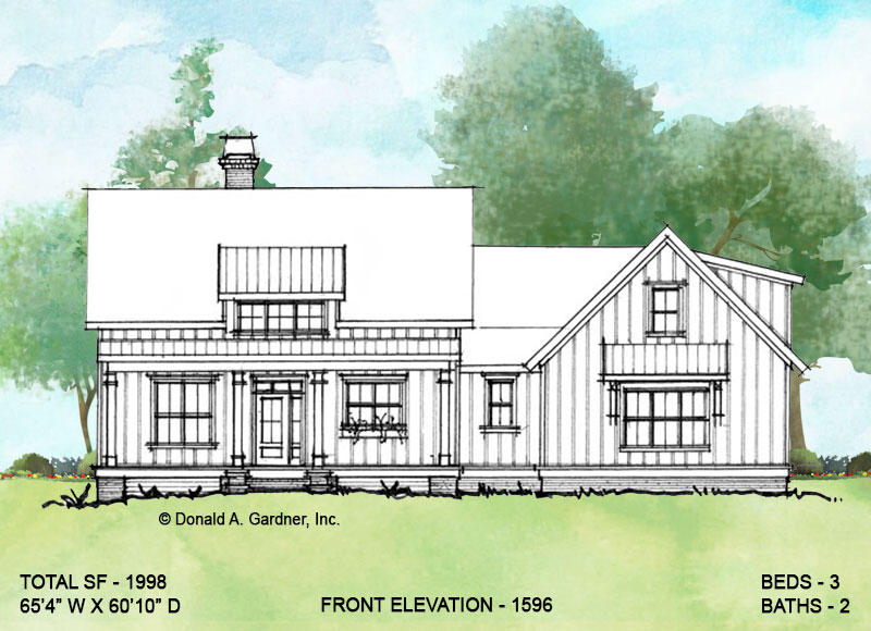Front elevation of conceptual house plan 1596.