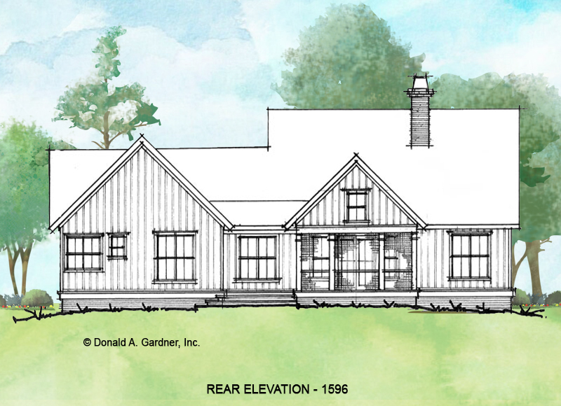 Rear elevation of conceptual house plan 1596.
