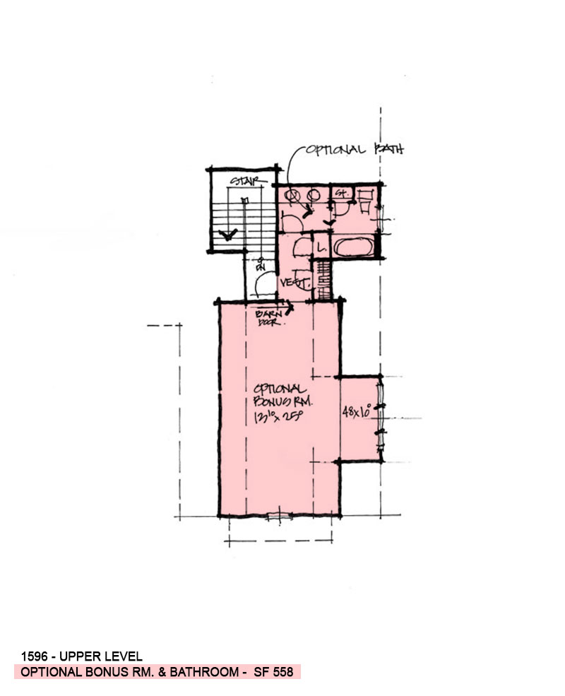 Bonus room of conceptual house plan 1596.