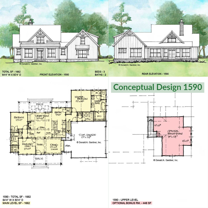 Overview of conceptual house plan 1590.