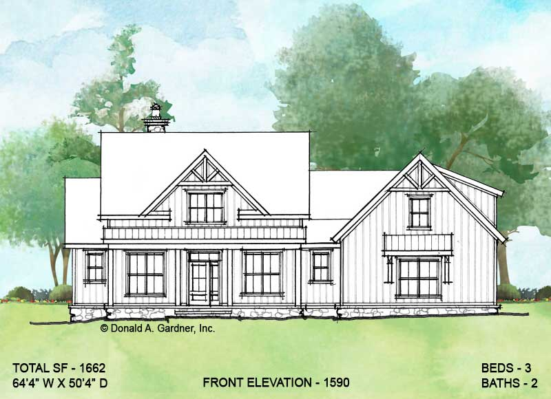 Front elevation of conceptual house plan 1590.