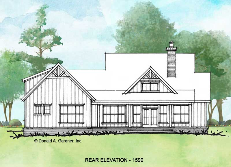Rear elevation of conceptual house plan 1590.