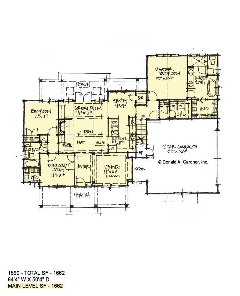 First floor of conceptual house plan 1590.