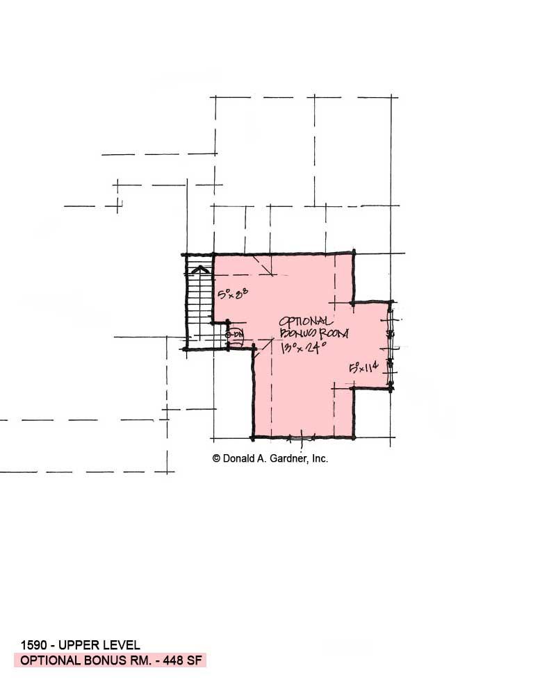 Bonus room of conceptual house plan 1590.