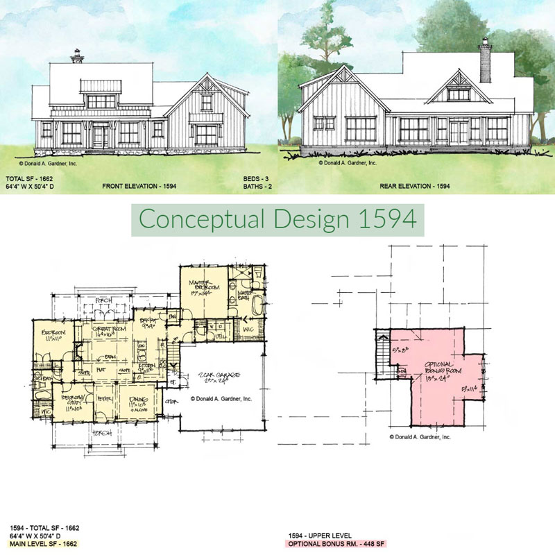 Overview of conceptual house plan 1594.