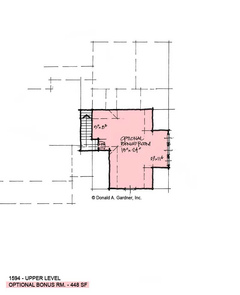 Bonus room of conceptual house plan 1594.