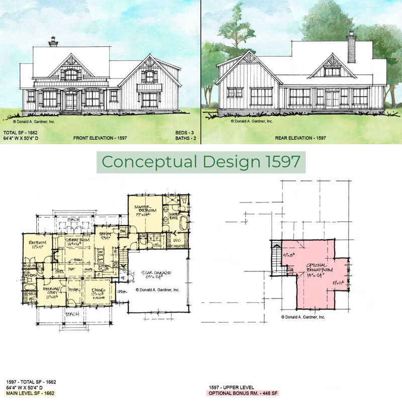 Overview of conceptual house plan 1597.
