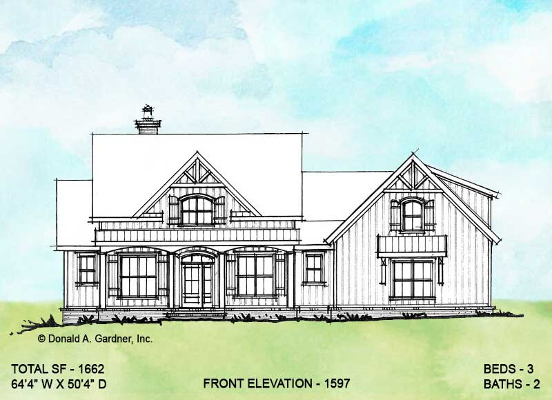 Front elevation of conceptual house plan 1597.