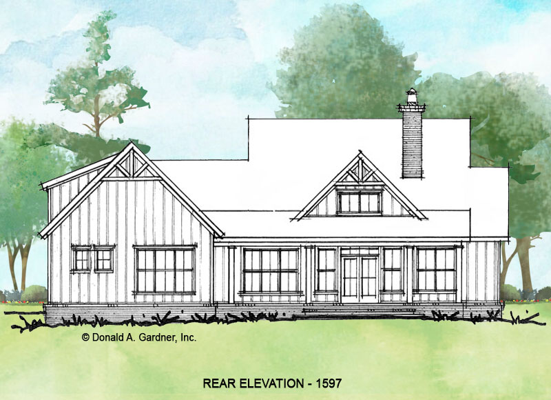 Rear elevation of conceptual house plan 1597.