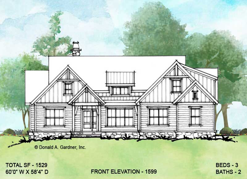 Front elevation of conceptual house plan 1599.