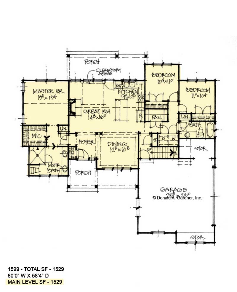 First floor of conceptual house plan 1599.