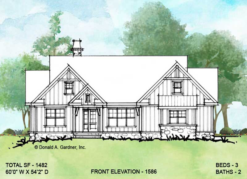 Front elevation of conceptual house plan 1586.