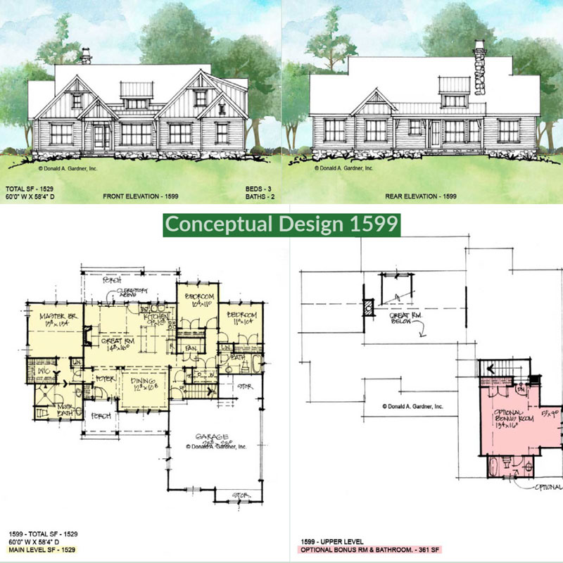 Overview of conceptual house plan 1599.