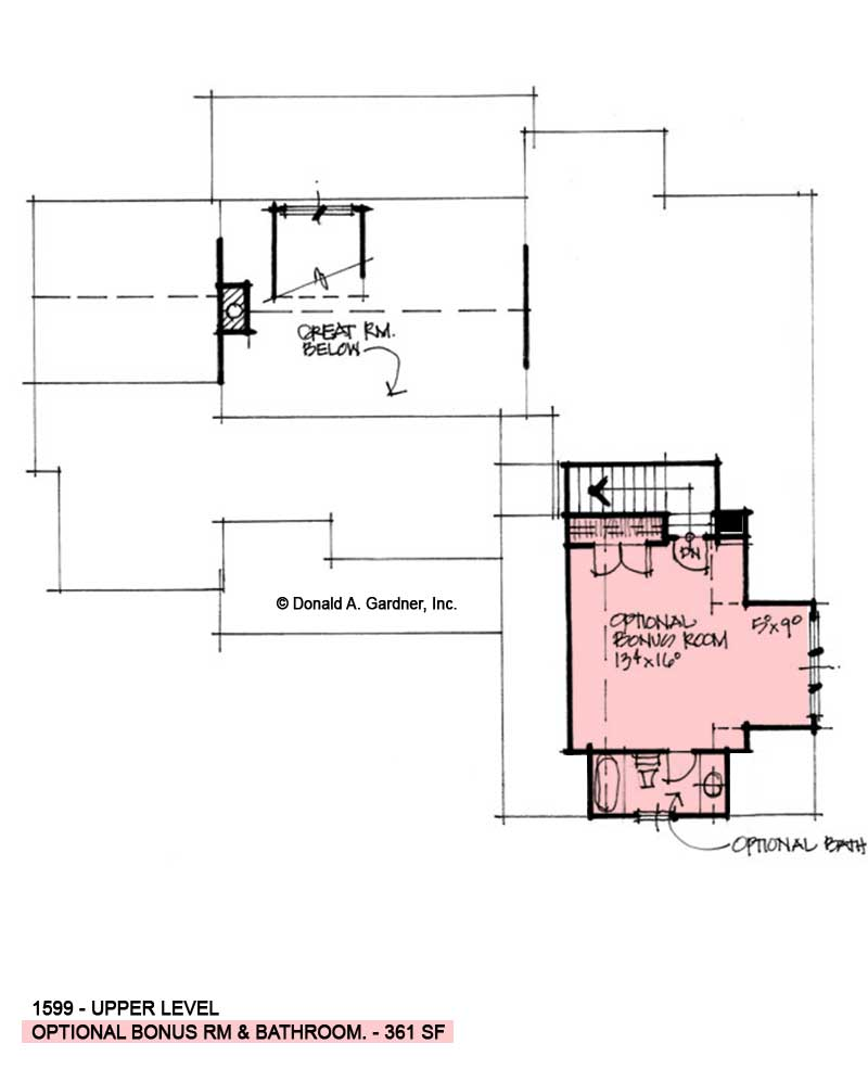 Bonus room of conceptual house plan 1599.