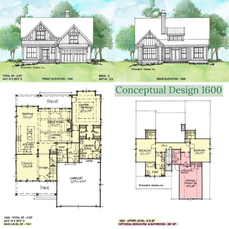Overview of conceptual house plan 1600.