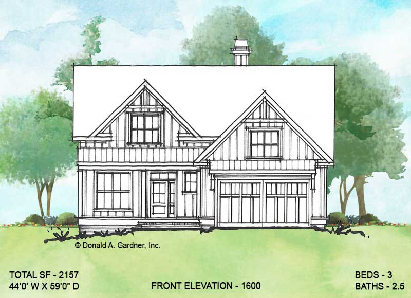Front rendering of conceptual house plan 1600.