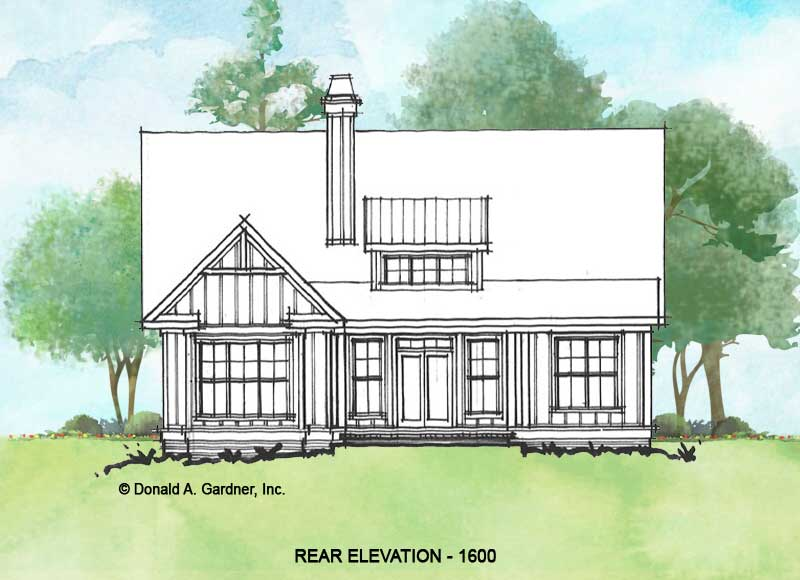 Rear rendering of conceptual house plan 1600.