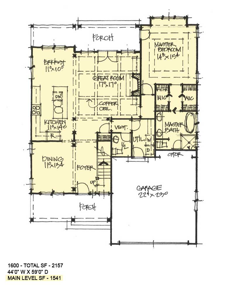 First floor of conceptual house plan 1600.