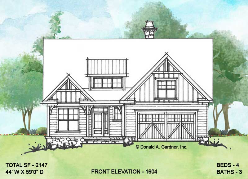 Front elevation of conceptual house plan 1604.