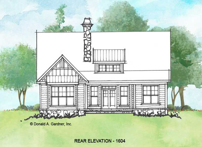 Rear elevation of conceptual house plan 1604.