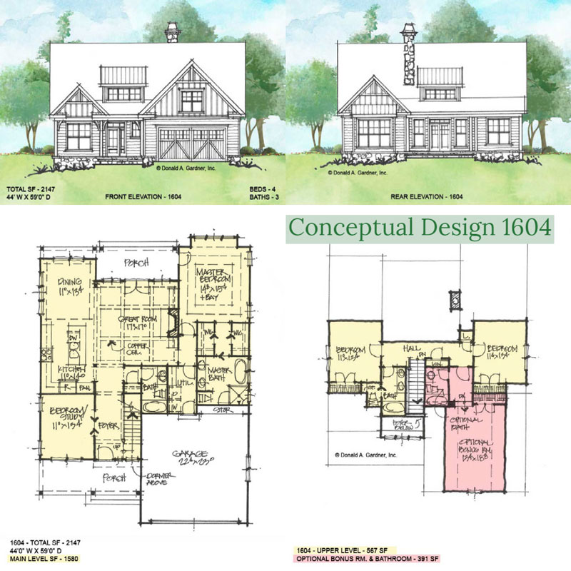 Overview of conceptual house plan 1604.
