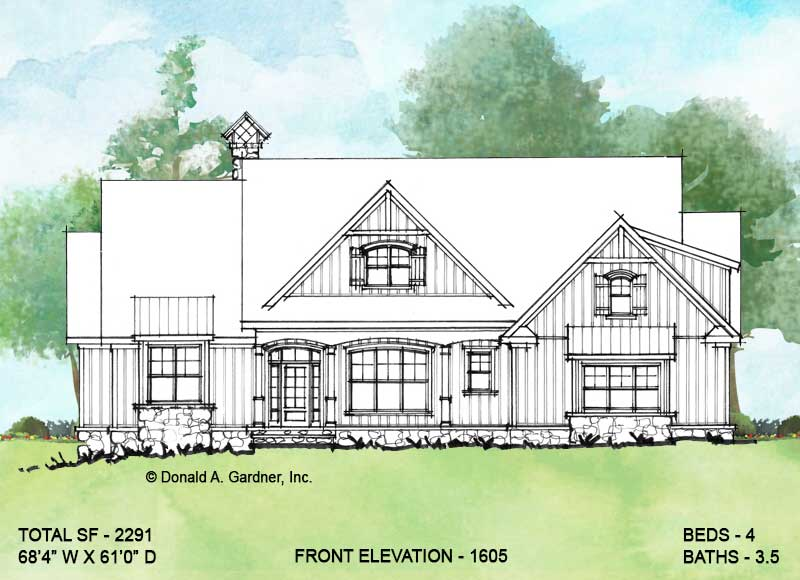 Front elevation of Conceptual House Plan 1605.
