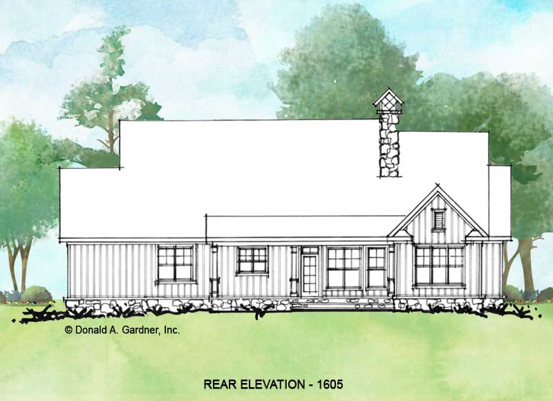 Rear elevation of Conceptual House Plan 1605.