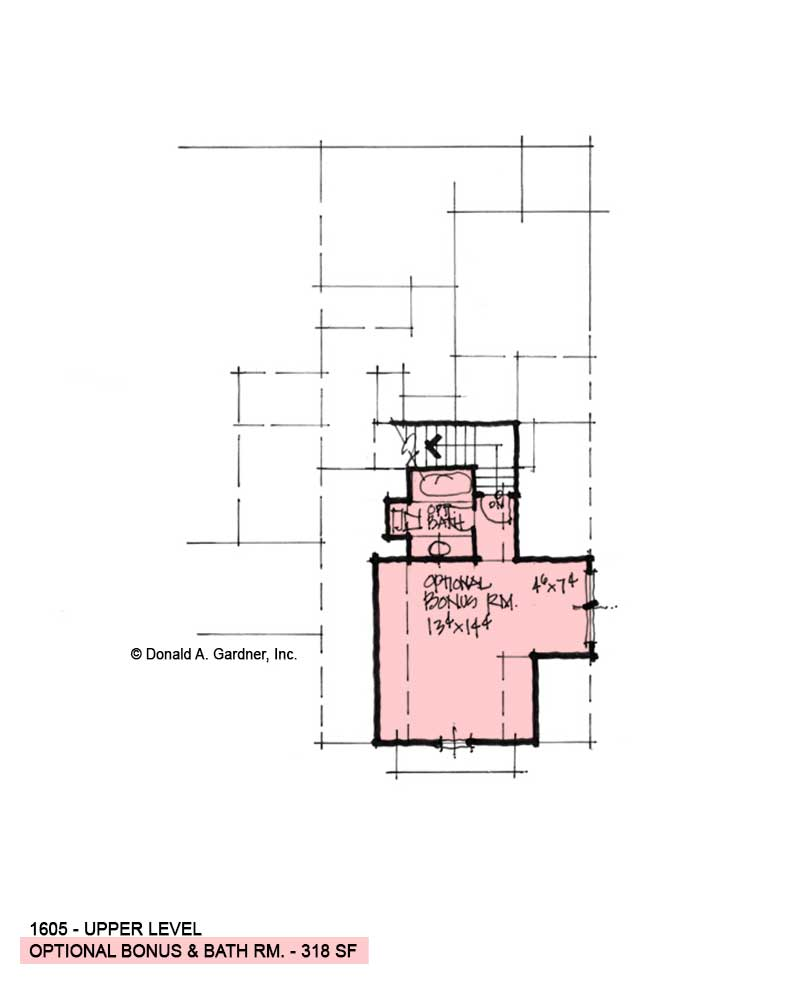 Bonus room of Conceptual House Plan 1605.