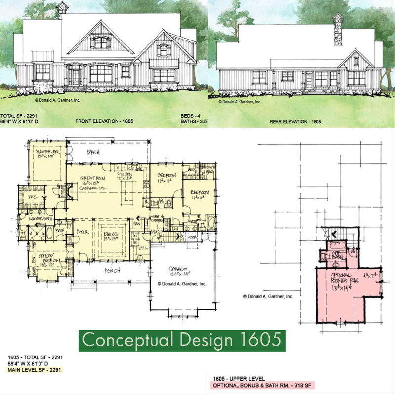 Overview of Conceptual House Plan 1605.