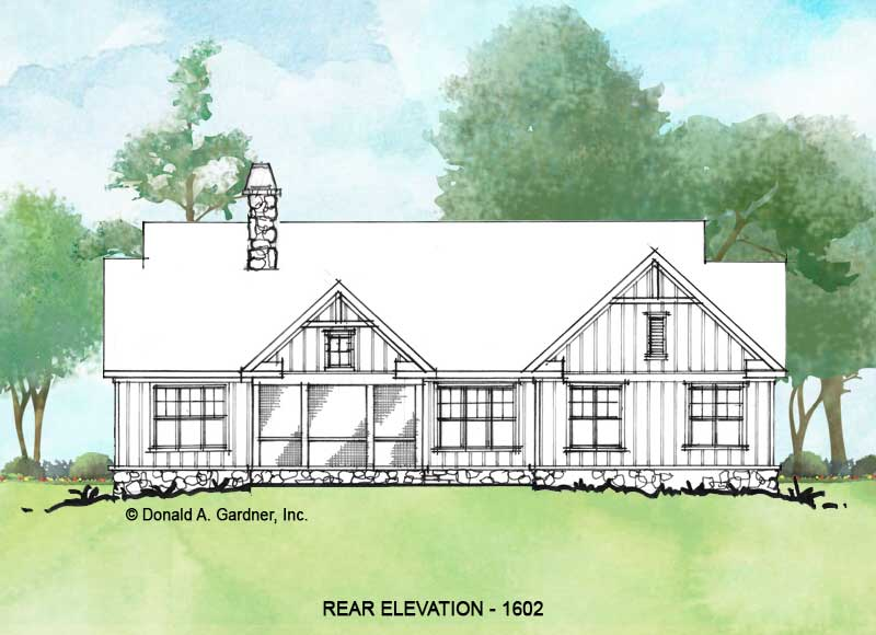 Rear elevation of Conceptual house plan 1602.