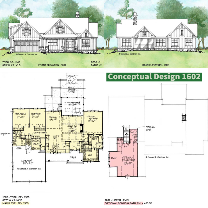 Overview of Conceptual house plan 1602.