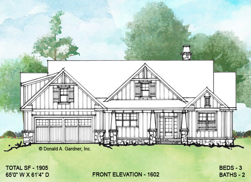 Front elevation of Conceptual house plan 1602.