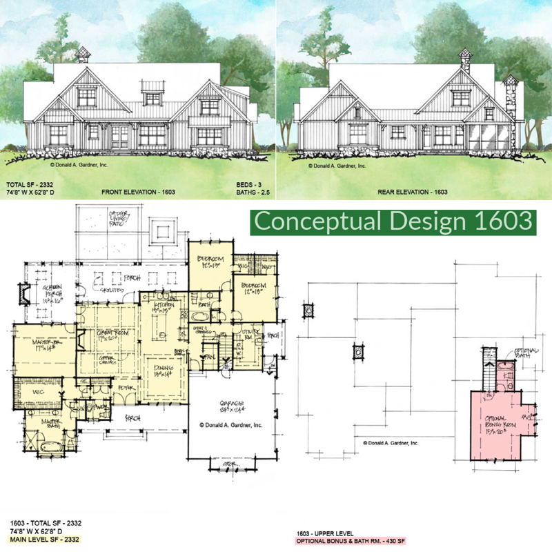 Overview of conceptual house plan 1603.
