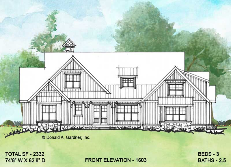 Front elevation of conceptual house plan 1603.