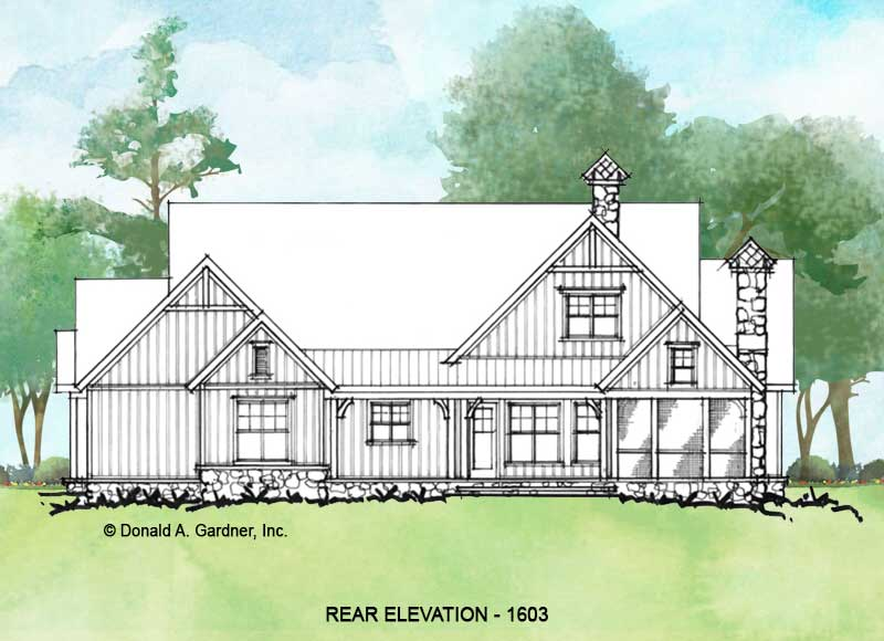 Rear elevation of conceptual house plan 1603.