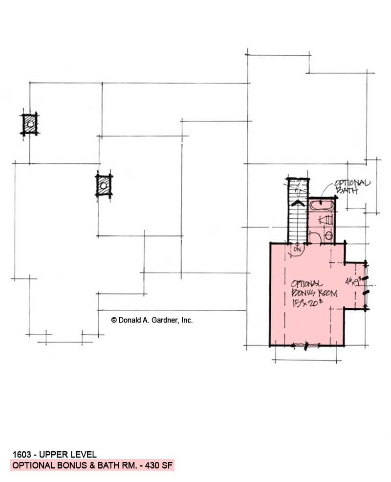 Bonus room of conceptual house plan 1603.