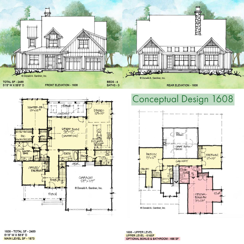 Overview of Conceptual house plan 1608.