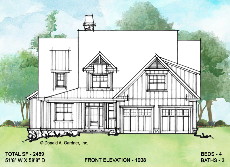 Front elevation of Conceptual house plan 1608.