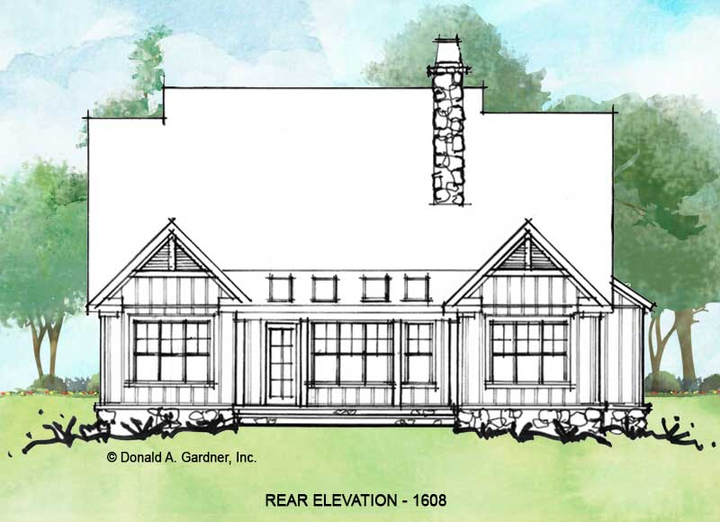 Rear elevation of Conceptual house plan 1608.