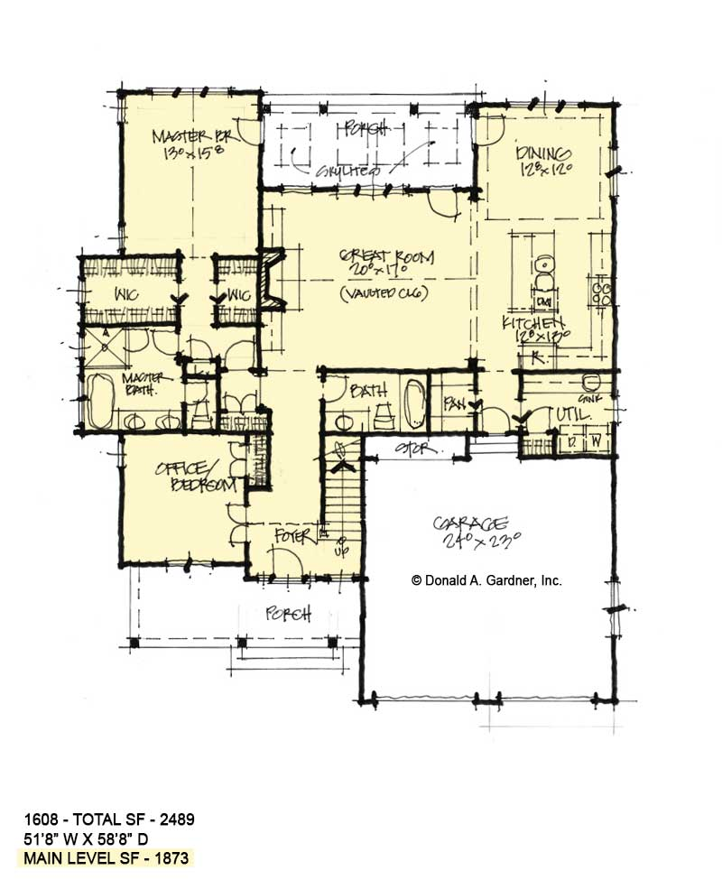 First floor of Conceptual house plan 1608.