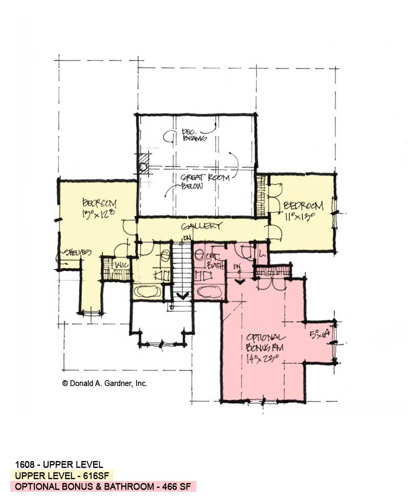 Second floor of Conceptual house plan 1608.