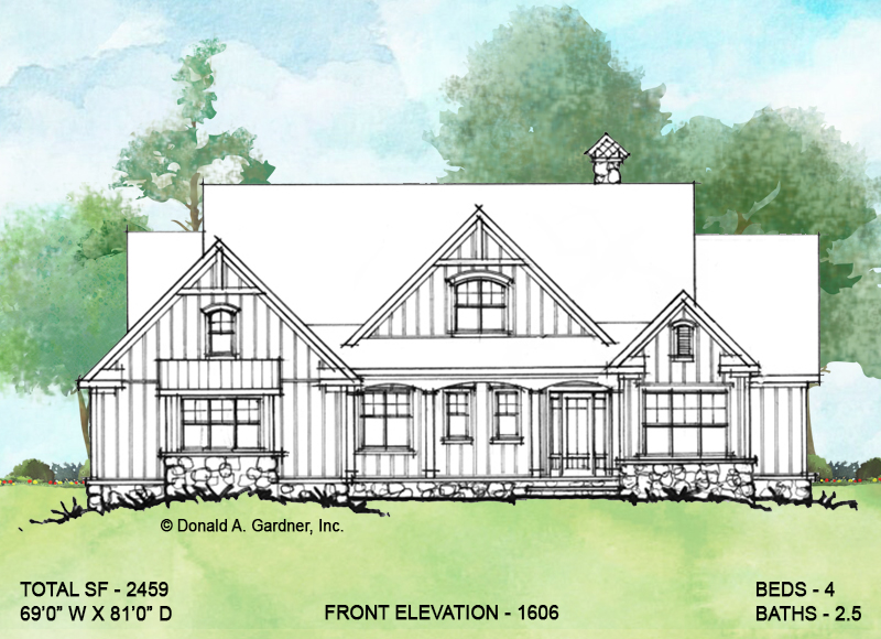 Front elevation of Conceptual house plan 1606.