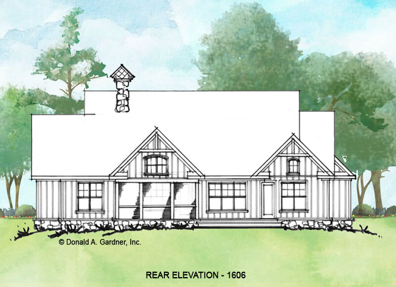Rear elevation of Conceptual house plan 1606.